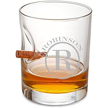 Personalized Bulletproof Lowball Whiskey Glass - circle monogram