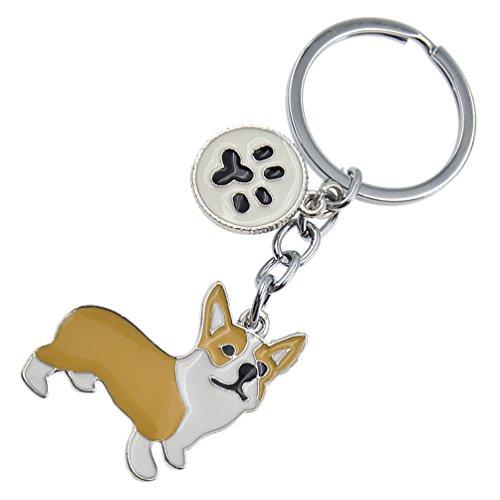 Cute Pet Dog Keychain Alloy Enamel Corgi Husky Poodle Keyring Love Tag Charm 1Pc - Simply Enamel