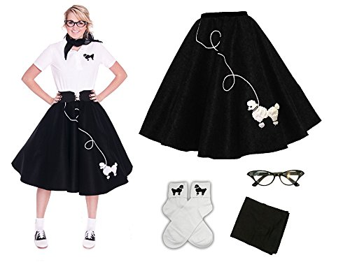 Hip Hop 50s Shop Adult 4 Piece Poodle Skirt Costume Set Black and White 3XLarge/4XLarge