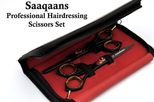 Saaqaans SQKIT Professional Hairdressing Scissors Set - Package includes Barber Scissor, Thinning Shear, Straight Razor, 10 x Derby Double Edge Blades and Hair Comb in Stylish Black Scissors Case by Saaqaans (Image #5)