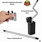 Black Portable Reusable Drinking Straws with Case and Cleaning Brush ; Collapsible Stainless Steel Straws; Foldable/Retractable Metal Straws