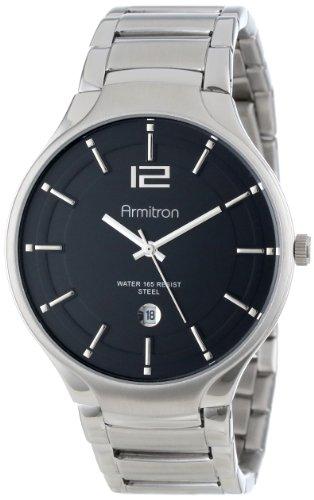 Armitron Men's 20/4914BKSV Stainless Steel Silver-Tone Calendar Window Bracelet Watch