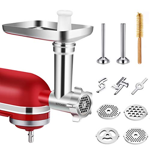 Metal Food Meat Grinder Attachments for KitchenAid Stand Mixers, KITOART Meat Grinder Attachment Compatible with KitchenAid Stand Mixers, including Sausage Stuffing Accessory, Cleaning Brush [ Newly Designed ]