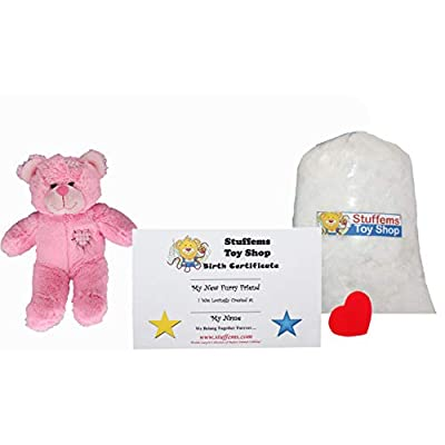 Make Your Own Stuffed Animal Mini 8 Inch Pink Heart Patch Bear Kit - No Sewing Required!: Toys & Games