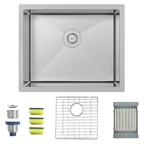 MENSARJOR 22'' x 18'' Single Bowl Kitchen Sink 16 Gauge Undermount Stainless Steel Kitchen Sink, Bar or Prep Kitchen sink ()