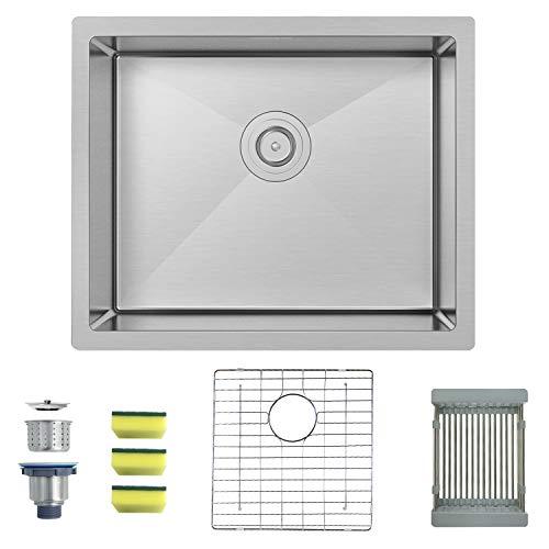 (MENSARJOR 22'' x 18'' Single Bowl Kitchen Sink 16 Gauge Undermount Stainless Steel Kitchen Sink, Bar or Prep Kitchen sink)