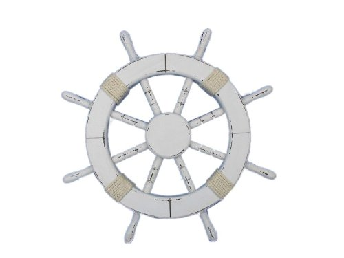 Hampton Nautical  Rustic White Ship Wheel, 18
