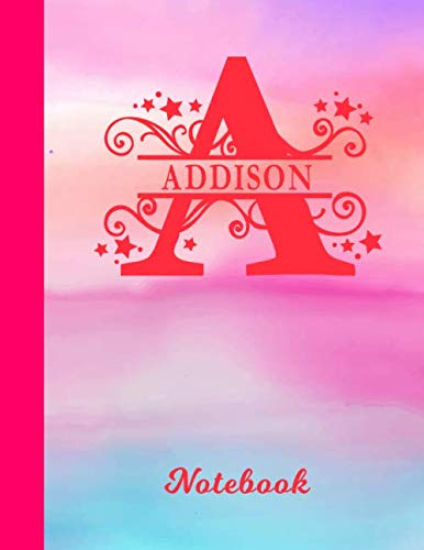 - Addison Notebook: Letter A Personalized First Name Personal Composition Book & Writing Notepad Journal | Cute Glossy Pink & Blue Watercolor Effect ... Taking | Write about your Life & Interests