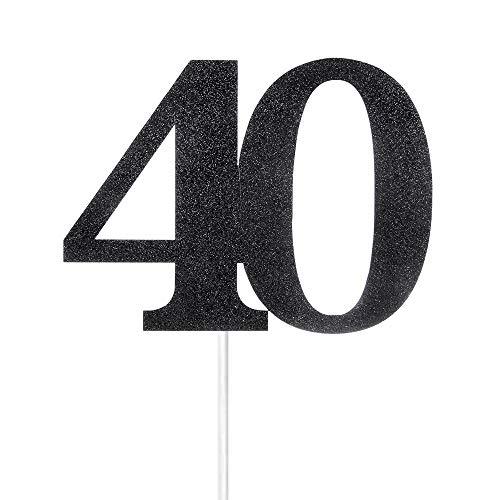 Black Glitter Number 40 Cake Topper - for 40th Birthday/Wedding Anniversary Party - 40 Glitter