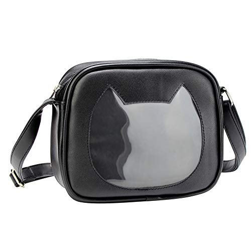 SteamedBun Ita Bag Cat Shaped Crossbody Purse Girls Cell Phone Wallet Shoulder Bags with Window