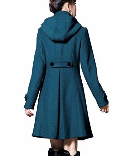 Collar Botonadura Capucha Imitación Emma Caliente De Verde Lana Con Fleece Abrigo Mujer Piel Elegante Doble Negruzco La gxAzwq0YA