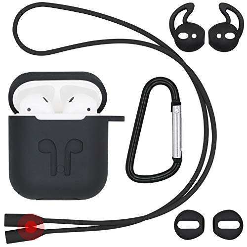 JNSA Soft Skin Black Case Cover for AirPods with Ear Tips 2 Style & Belt Clip& Anti-Lost Magnetic Strap, AirPods Cover AirPods Skin AirPod Case Accessories Kits Set for Boy Man Male, Black