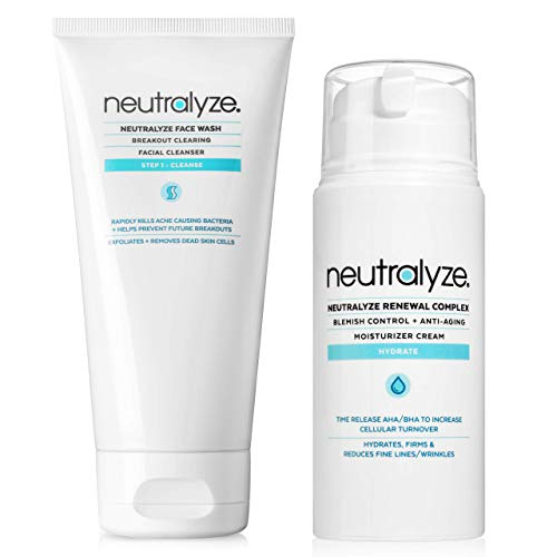 Neutralyze Acne Face Wash | Maximum Strength Facial Cleanser For Acne Prone Skin With 2% Salicylic Acid + 1% Mandelic Acid + Nitrogen Boost Skincare Technology (5 oz) and Neutralyze Renewal Complex