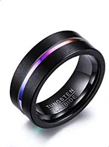 Unisex titanium ring with strong black color decorated with a line in the middle