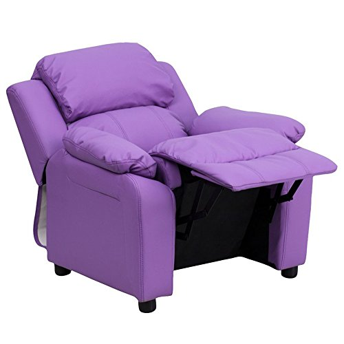Kids Recliner Chair With Storage - Children, Toddler Room Modern Furniture - Oversized Seat - Microfiber or Vinyl Upholstered - Accent Colors (Vinyl - Lavender) by Simple Living