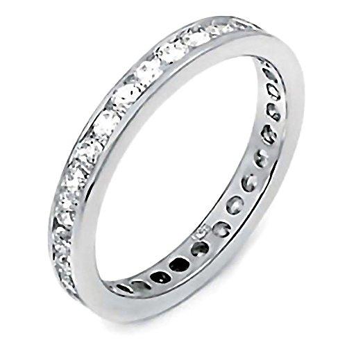 Kristen: 0.8ct Brilliant-cut Ice on Fire CZ Wedding Eternity Band Ring 925 Silver, 3051B sz - Zirconium Ring Cubic Platinum