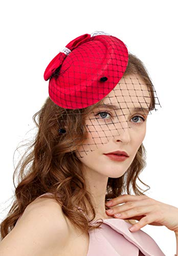 (Vintage Fascinators 20s 50s Hat Pillbox Hat Cocktail Party Hat with Veil Hair Clip(C-Red))