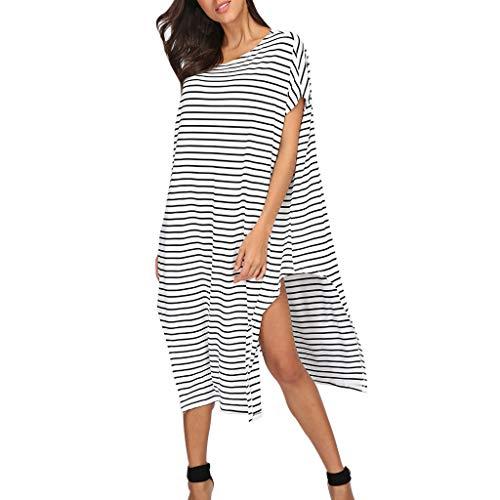 Maxi Dresses for Women Casual Short Sleeve Strip Print Loose Straight Split Long Dress White