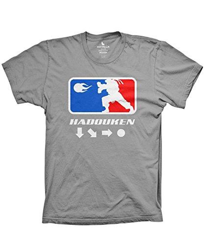 Hadouken Funny Video Game Shirt Old School Retro Gaming Tshirt, Silver, Medium
