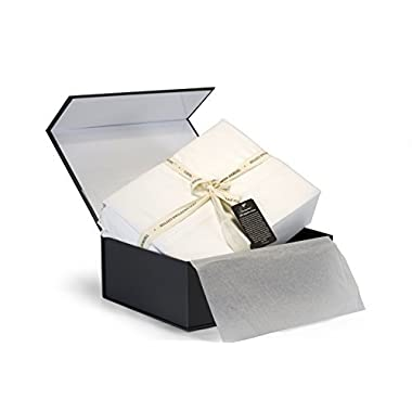 100% Egyptian Cotton Sheets, Genuine 1000 Thread Count 4 Piece Gift Box Set, Hotel Luxury Sateen Weave with Extra Deep Pockets (Queen, White)