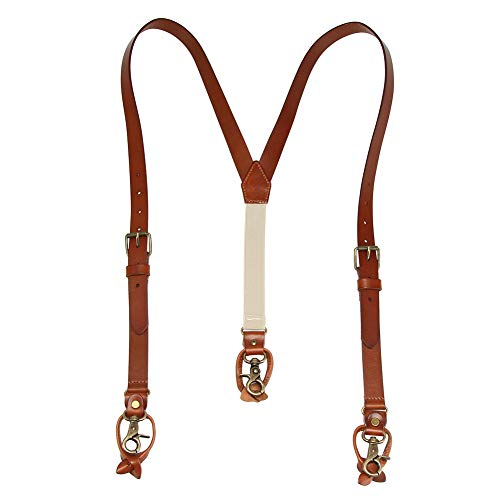 Leather 3 Snap - 1 Inch Men's Suspenders 3 In 1, Leather Genuine Suspenders, Elastic Strap with Clips, Buttons, Snap Hooks
