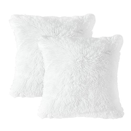 MIULEE Pack of 2 Luxury Faux Fur Christmas Throw Pillow Cover Deluxe Decorative Plush Pillow Case Cushion Cover Shell for Sofa Bedroom Car 18 x 18 Inch White (White Pillow Shag)