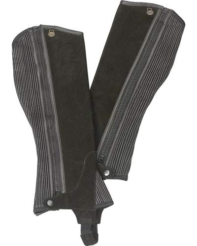 Ovation Boys' Ribbed Suede Half Chaps Black 12-14 US ()