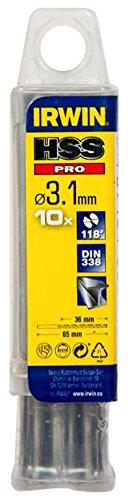 IRWIN 10502262 3.1 mm HSS PRO DIN338 Drill Bit Bulk (Pack of 10) Irwin Tools