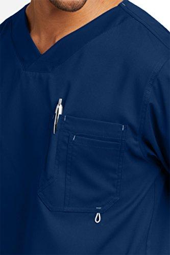Grey's Anatomy Men's Modern Fit V-Neck Scrub Top, Indigo, Medium by Barco (Image #3)