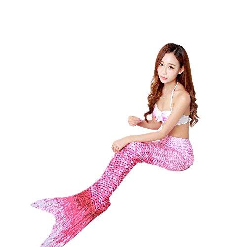 jysport aletas de traje de baño para mujer Bikini Conjunto de sirena disfraz de pavo real natación aletas correa halter push-up Padded Beachwear pink: 3pcs(1pc Top +1pc Underwear +1pc Mermaid Tail)