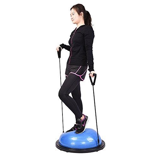 """Bosu Ball Air Pump: AW Blue 22.8""""/58cm Yoga Balance Ball W/ 2 Elastic Strings"""