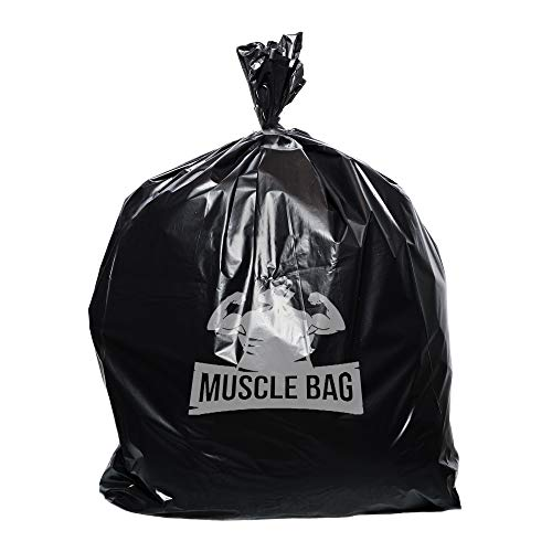 Muscle Bag Trash Bags, 40 to 45 Gallon (100 Count Wholesale) Easy Dispensing, 3 Layers of Flexible, Puncture Resistant Low-Density Plastic, Premium Can Liners, Leak Proof 1.5Mil Garbage Bags