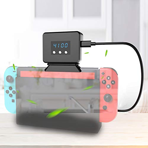 EEEKit Cooling Fan for Nintendo Switch Dock Set Temperature Display Cooler for NS Original Docking Station, USB Powered, Integrated Cable