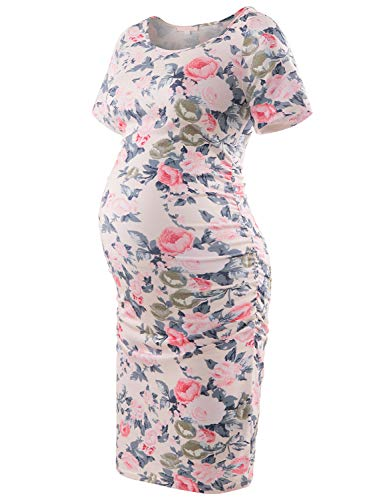 - Maternity Floral Print Dress Short Sleeve Bodycon Ruched Side Knee Length Dress Beige Rose M