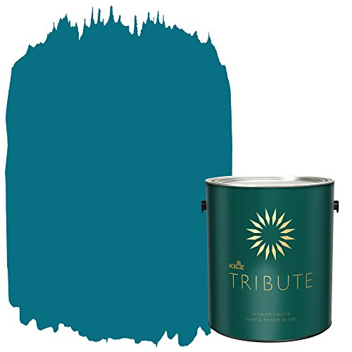 KILZ TRIBUTE Interior Matte Paint and Primer in One, 1 Gallon, True Teal -