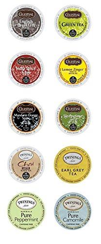 Twinings & Celestial Seasonings Hot Tea K-cup Variety Sampler Pack for Keurig 2.0 - 30 Count/10 Flavors Per Box