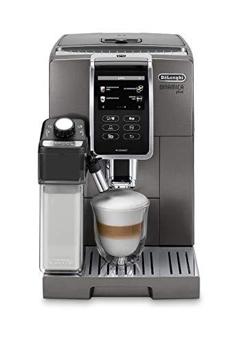 Delonghi super-automatic espresso coffee machine with an adjustable grinder, double boiler, milk frother, espresso maker for brewing espresso, cappuccino, latte, macchiato. ECAM 370.95T Dinamica Plus