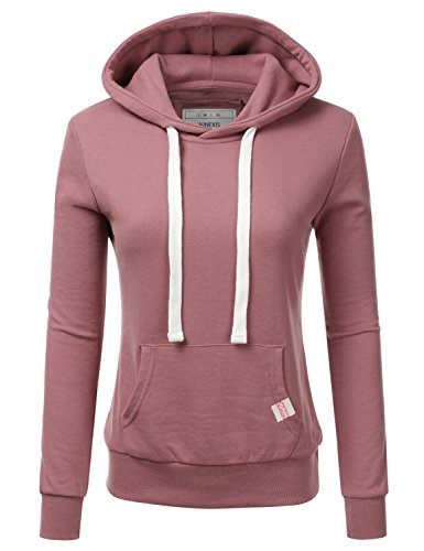 NINEXIS Womens Long Sleeve Fleece Pullover Hoodie Sweatshirts BEGONIAPINK L