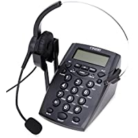 Dialpad with Headset, Coodio Corded Phone [Call Center] Telephone with Headset and Recording Cable and Tone Dial Key Pad / Redial - C888