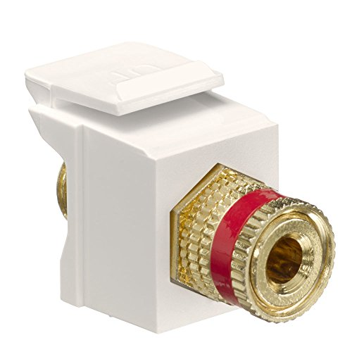 Binding Post Adapter - Leviton 40833-BTR QuickPort Binding Post Adapter with Red Stripe, Light Almond