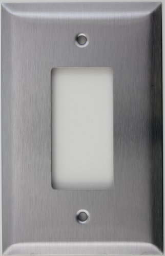 Oversized Jumbo Satin Stainless Steel One Gang GFI/Rocker Wall Plate
