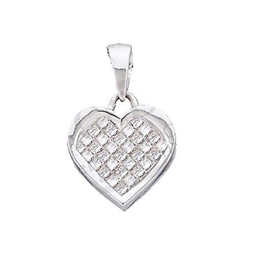 Aienid 14K White Gold 0.50ct Princess Diamond Heart Ladies Pendant Pendant