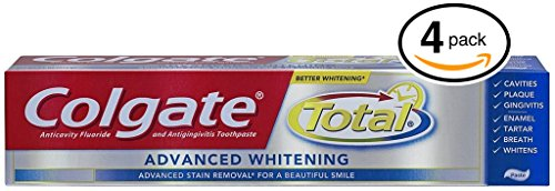 (PACK OF 4 TUBES) Colgate Total ADVANCED TOOTH WHITENING Toothpaste. Whitens & Removes Surface Stains! ANTI-CAVITY FLUORIDE, ANTI-GINGIVITIS & ANTI-PLAQUE! (Pack of 4 Tubes, 8.0oz each Tube) ()