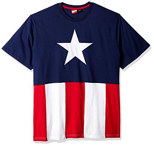 Marvel Men's Captain America Emblem T-Shirt, Red/White/Navy, 2XL