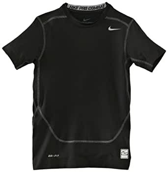 NIKE Pro Core Compression Boy's Short Sleeve Top, Black, Age 8-10/S