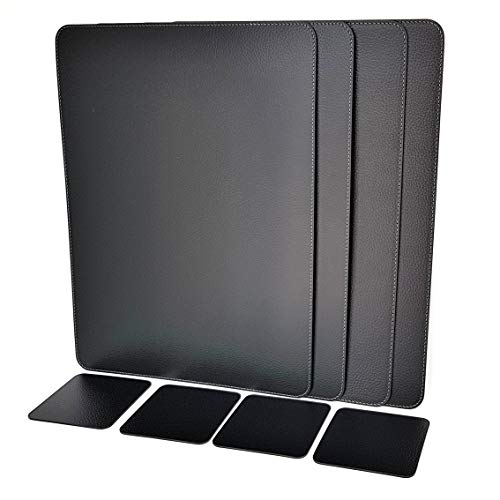 (Nikalaz Set of Black Placemats and Coasters, 4 Table Mats and 4 Coasters, Recycled Leather, Place Mats 18 x 13 inches (Black))
