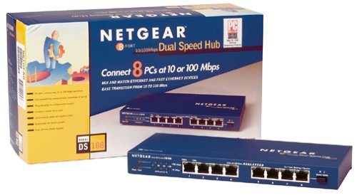NETGEAR DS108 8 Port 10/100 Mbps Dual Speed Hub by NETGEAR