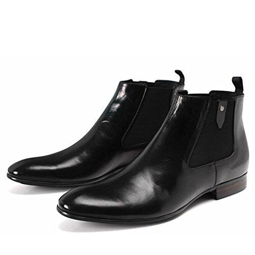 Santimon-mens Äkta Läder Handsewn High-top Boots Affärer Skor Svart