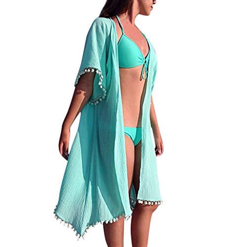 BBesty Women's Casual Boho Beach Dresses Solid Tessel Patchwork Holiday Chiffon Dress Green
