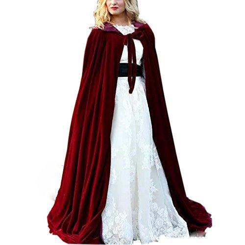 Ike Chimbandi Burgundy Long Velvet Hooded Cloak Bridal Cloaks Winter Capes (style5) by Ike Chimbandi